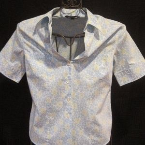 LANDS' END Blue Floral Short Sleeve Button Shirt 6